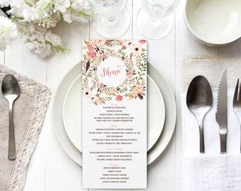 Boho Menus - Floral Wreath Menu Cards - Bohemian Garden Wedding Printable Menus
