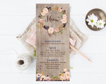 Fall Wedding Menus - Rustic Thanksgiving Menus - Floral Menu Cards - Boho Printable Menus - Printable or Printed
