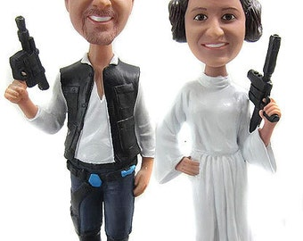 Star Wars Hans Solo and Princess Leia Custom Wedding Cake Toppers Sculpted to Looking Like the Bride and Groom