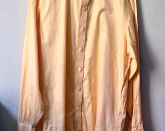 Vtg. TURNBULL & ASSER Yellow Herringbone French Cuff Shirt Size 16 Euro Size 41 L Large