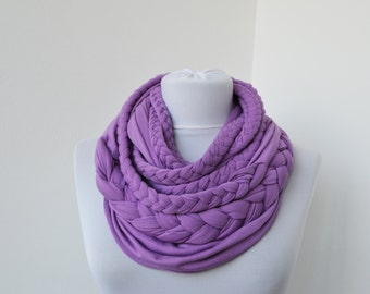Lilac Loop Scarf Infinity Jersey Scarf Partially braided Circle Scarf Scarf Nekclace