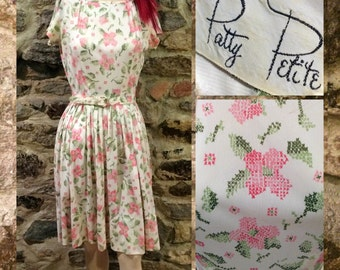 Vintage 1960's White Short Sleeve Day Dress, Pink & Green Floral Print,Original Matching Belt, Size Small,Retro, Pinup Spring Summer Fashion