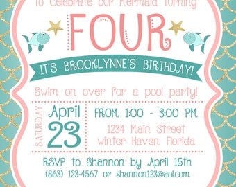 Under the Sea / Mermaid Birthday Party Invitation