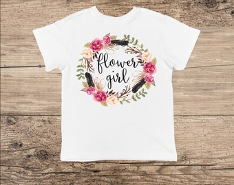 Flower Girl T Shirt, Flower Wreath Bodysuit