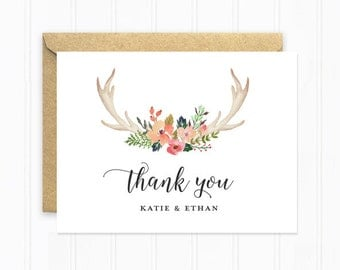 Boho Wedding Thank You Cards, Antlers with Flowers