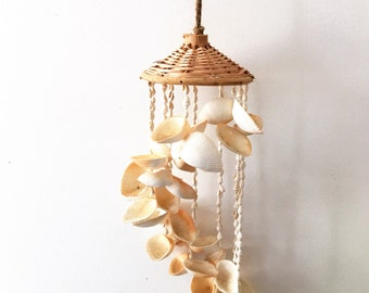 """SHELL WINDCHIMES VINTAGE, All Shells with Tattan Top Wind chime, Beach style Wind chime,  16"""" long Shells Wind chimes"""