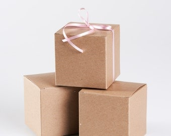 12 Gift Box with Lid - Kraft Boxes 4x4x4