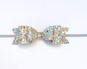 Silver and Gold Glitter Bow | New Year's Glitter Bow | New Year's Glitter Headband | Fancy Glitter Bow | Silver and Gold Double Bow Headband