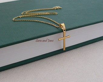 Cross Necklace - Gold Cross Goddaughter Gifts - Faith Forever Necklace - Gold Vermeil  Cross Necklace / Confirmation Gift