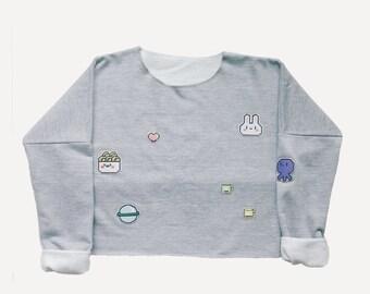 PIXEL WORLD cropped sweatshirt