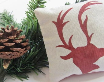 Reindeer Mini Plush Pillow - Hand Painted - Christmas Pillow - Festive Reindeer Decor