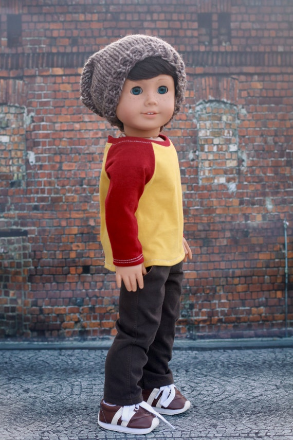 AG Doll Clothes | Heather Brown Hand Knitted Slouch Slouchy HAT for 18 Inch Dolls such as American Girl