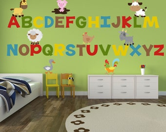 Alphabet Wall Decals - Farm Wall Decals - ABC Wall Decals - Farm Animal  Nursery Decor - Farm Theme Wall Art - Alphabet Wall Art