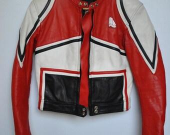 Vintage KRAWEHL LEATHER JACKET , women's motorcycle leather jacket ....(145)