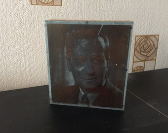 Vintage etched copperplate print photo block of smart male 1940s