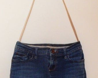 """Purse - Recycled blue jean - 8 pockets - leather strap - 12 1/2"""" X 9 1/2"""" X 3"""" - fully lined"""