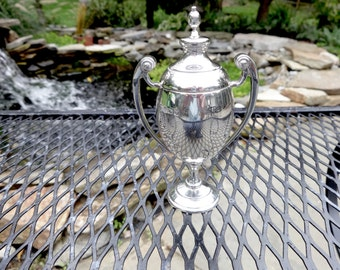 Vintage STERLING TROPHY CUP Petite English Sterling Silver Trophy Cup Urn Barker Bros Circa 1937
