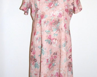 Vintage 1960s Handmade Pink Floral Print Short Shift Dress - Size 12