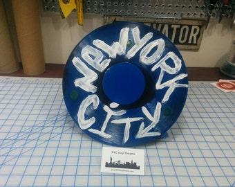 LP  with New York City grafitti