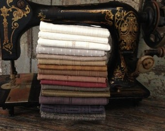 "Fabric: HALF YARD BUNDLE - Prairie Woven ""Sampler"" - Primitive & Rustic Japanese Taupe Woven Fabrics by Diamond Textiles"