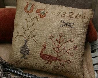 Pattern: Malabar Farm Cross Stitch Pinkeep by Stacy Nash Primitives