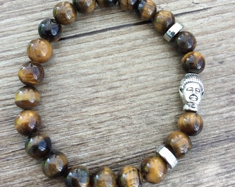Tiger's Eye Quartz and Buddha Head Bracelet - Gemstone Bracelet - Bead Bracelet - Tiger's Eye Bracelet