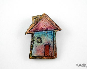 Cute brooch, christmas gift, home sweet home jewelry, little house brooch, cute house pin, little home brooch, house jewelry, faux ceramic