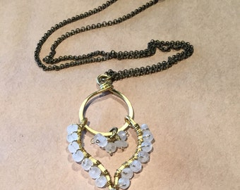 Boho Brass Paisley and Moonstone Necklace