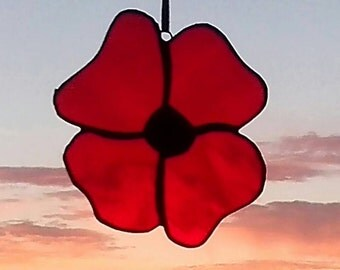 Glass Poppy suncatcher