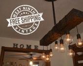 Farm House Light - Pendant Lighting - Wood Light - Kitchen Light - Industrial Chic - Chandelier - reclaimed wood - wood fixture -light
