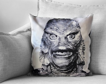"creature from the black lagoon - 18"" velveteen pillow case - universal monsters"