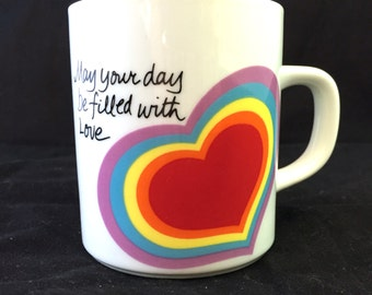 Rainbow Coffee Mug, Hearts Mug, Avon Easter 1983 Mug, May Your Day Be Filled With Love, Happy Cup, Good Friend Gift Mug, Case of the Mondays