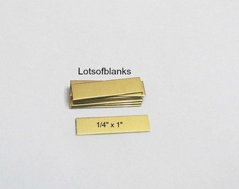 1/4 x 1  Rectangle Brass Blanks -Easy to hand stamp on - 22G -  Hand stamping metal Blanks 5 or more