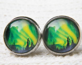 Polar Light Earrings, Green Earrings, Green Studs, Aurora Borealis, Northern Lights, Southern Lights, Glass Dome Earrings, Post Earrings