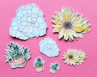 Watercolor Plant Sticker Pack, 16 stickers, Handmade, Succulent, Sunflower, Haworthia, Echeveria
