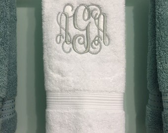 Monogrammed Hand Towel For Bathroom, Decorative, 100% Cotton