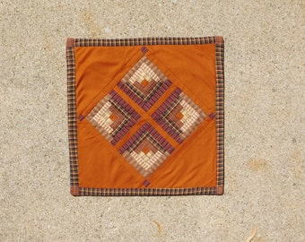 Primitive Quilt Quilted Wall Hanging Homespun Material Plaid Quilt Wall Decor Quilt Table Topper Log Cabin Quilt Sale