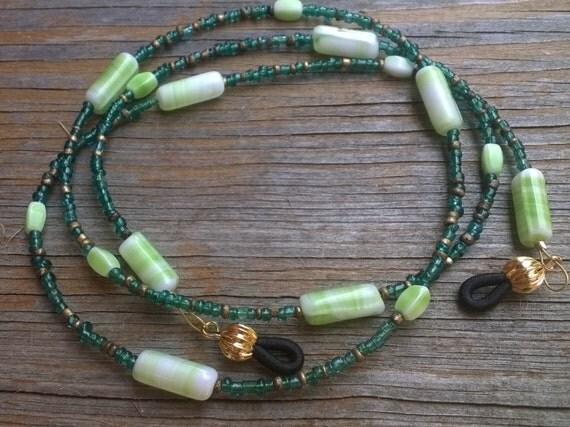 Glasses Chain, Green Beaded Holder for Glasses, Green Eyeglass Holder Light Weight, Green Minimalist Chain for Reading Glasses
