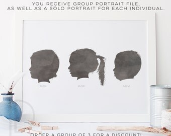 Child Silhouette - Group of 3 - Watercolor Silhouette - Custom Silhouette - DIGITAL PRINTABLE
