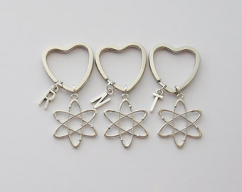 Three Kecyhains, Atom Keychains, 3 Science Keychains, 3 Atom Keychains, Atomic Keychain, Physics Key rings, Science Gifts, BFF Gifts,
