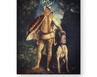 "Woodland Wall Art, Deer Decor, Gift For Men, Archival Renaissance Art Print, Altered Art, (3 Sizes Available) ""Kingly Buck"""