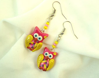 Owl earrings, Pink yellow fimo polymer clay, Cute forest creature, Handmade little owl fantasy modern jewelry, Kawaii, Bird wing accessories