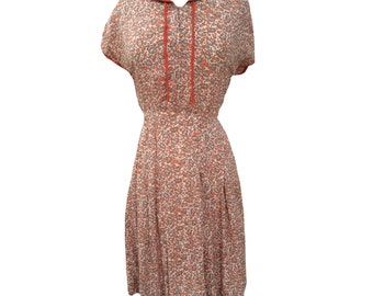1940s autumnal print vintage dress UK 12