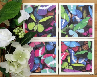 Drink Coasters - Tile Coasters - Ceramic Coasters - Ceramic Tile Coasters - Coaster Set - Table Coasters - Butterfly Coasters - Coaster