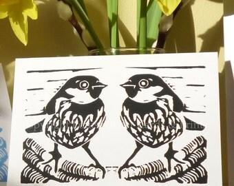 Black & white sparrow pair greeting card