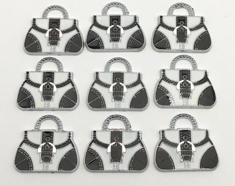 9 handbag charms black and white enamel and silver tone / 22mm to 25mm #Ch 328