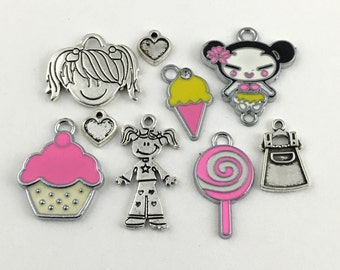 9 girl and candy antique silver charms # ENS A 026