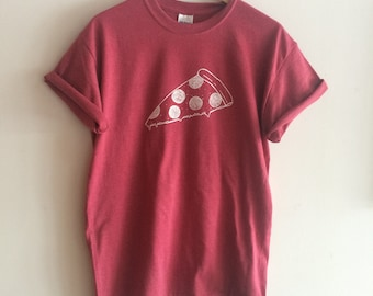 Pizza T Shirt, Food Shirt, Screen Printed Shirt