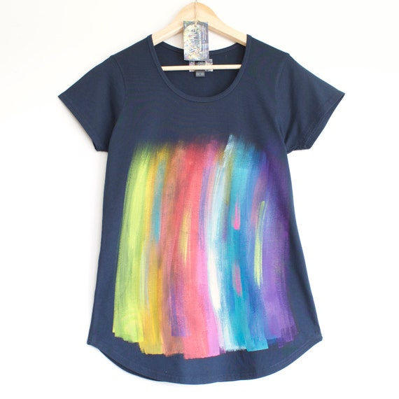 RAINBOW T SHIRT. Rainbow T shirt. Dark blue womens cotton t shirt.  Hand painted. Paint streaks.