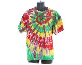 Tie Dye Rasta T-Shirt, Reggae Summer Tee, Unisex Jamaican Colors Shirt, Hippie Bob Marley Top